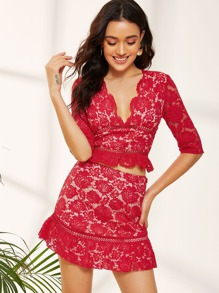 Plunge Neck Lace Top & Skirt Set