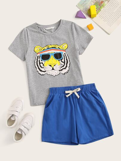 Boys Heather Grey Tiger Print Top & Shorts Set