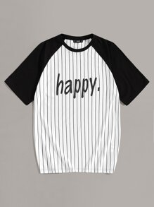 Men Raglan Sleeve Letter Print Striped Tee