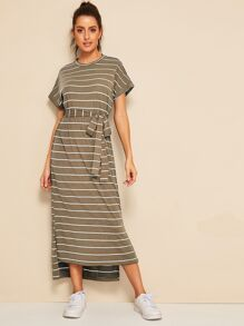 Split Hem Striped Belted Dress
