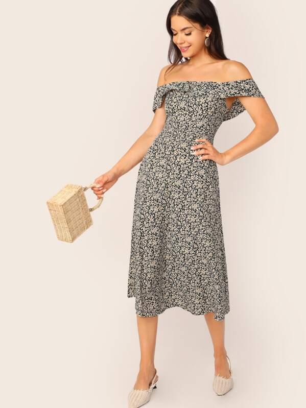 7136173de483 Off Shoulder Floral Calico Print Midi Dress   SHEIN