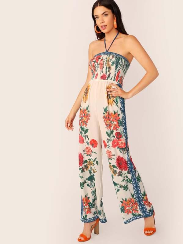 463fadaebf Halter Neck Smocked Wide Leg Floral Jumpsuit | SHEIN