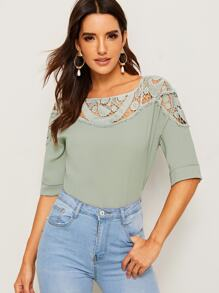 Cut-out Contrast Applique Blouse