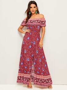 Ditsy Floral Print Split-front Maxi Dress