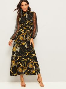 Chain Print Contrast Dot Mesh Sleeve Belted Dress