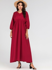 Batwing Sleeve Smock Maxi Dress