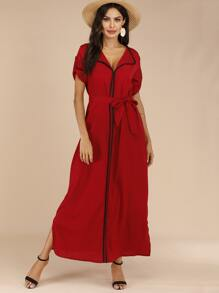 Piped Trim Roll Up Sleeve Belted Maxi Dress