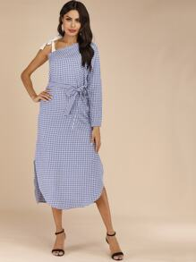 Gingham Print Asymmetrical Neck Belted Dress