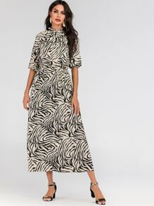 Zebra Stripe Print Bishop Sleeve Maxi Dress
