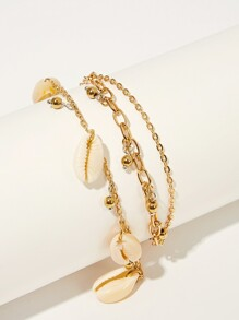 Shell Charm Layered Chain Anklet 1pc