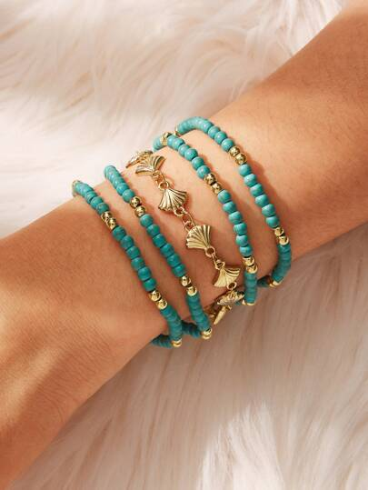 Shell Decor Beaded Bracelet Set 5pcs