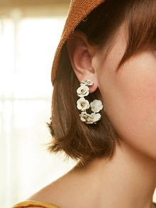 Flower Design Cut Hoop Earrings 1pair