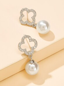 Faux Pearl & Textured Clover Shaped Drop Earring 1pair