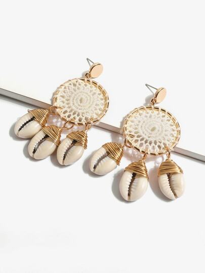 Shell Detail Hollow Out Hoop Drop Earring 1pair