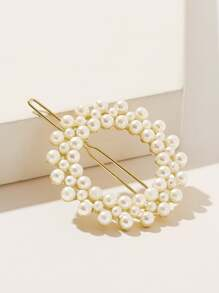 Faux Pearl Decor Round Hairpin 1pc
