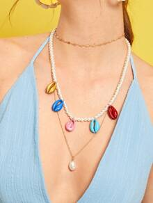 Color-block Shell Pendant Faux Pearl Layered Necklace 1pc