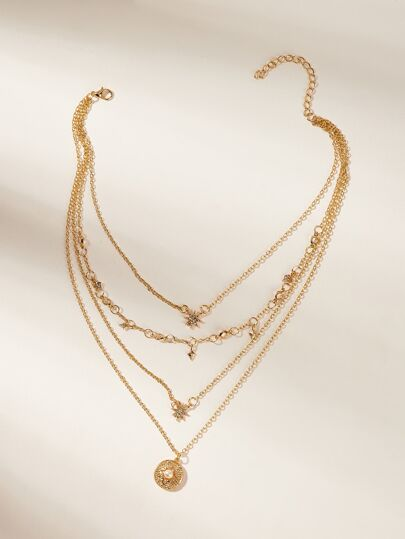 cf701a149ce Rhinestone Star Pendant Layered Chain Necklace 1pc