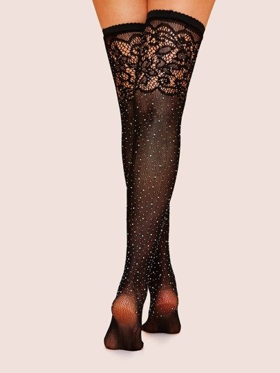262aef3c1 Rhinestone Decor Mesh Knee Length Socks