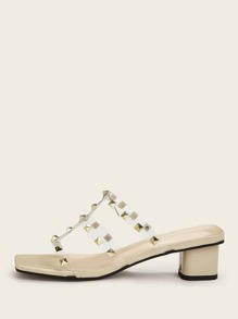 Studded Decor Chunky Heeled Mules