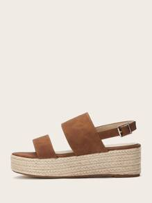 Open Toe Buckle Strap Wedges