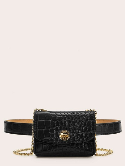 50cd94381bd0 Croc Embossed Flap Fanny Pack With Chain Strap