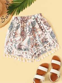 Plus Tassel Hem Tribal Print Shorts