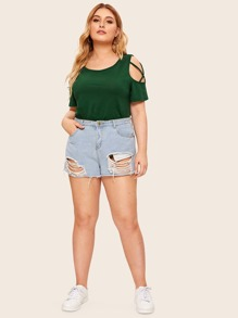 Plus Cold Shoulder Criss Cross Tee