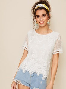 Guipure Lace Scallop Blouse