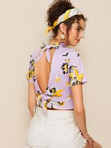 Floral Print Tie Back Crop Blouse