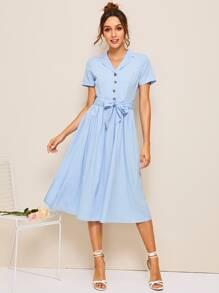 Half Button Belted Notched Dress