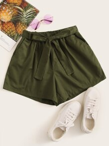 Belted Wide Leg Solid Shorts