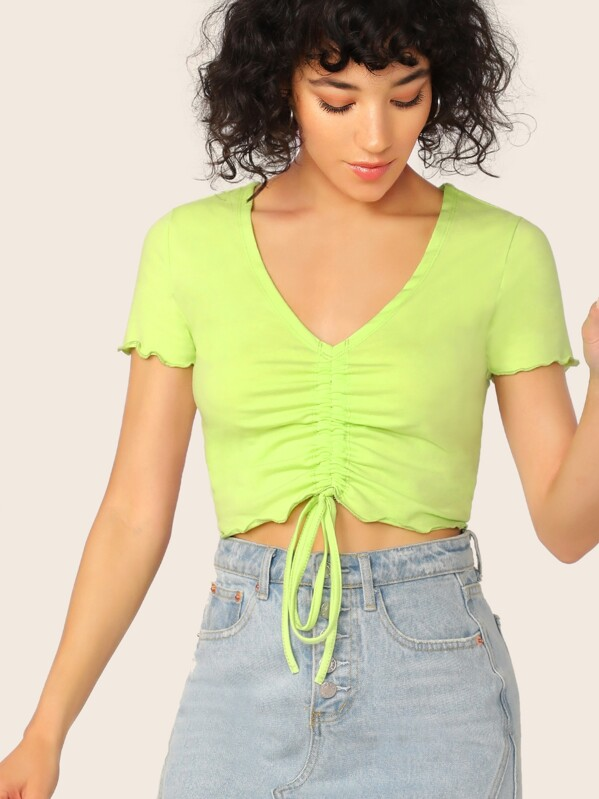 SheinNeon Lime Lettuce Edge Drawstring Front Crop Top by Sheinside
