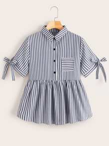 Striped Button Half Placket Peplum Blouse