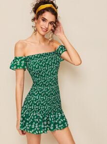 Off-shoulder Shirred Ditsy Floral Bodycon Dress