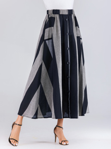 Color Block Button Front Maxi Skirt