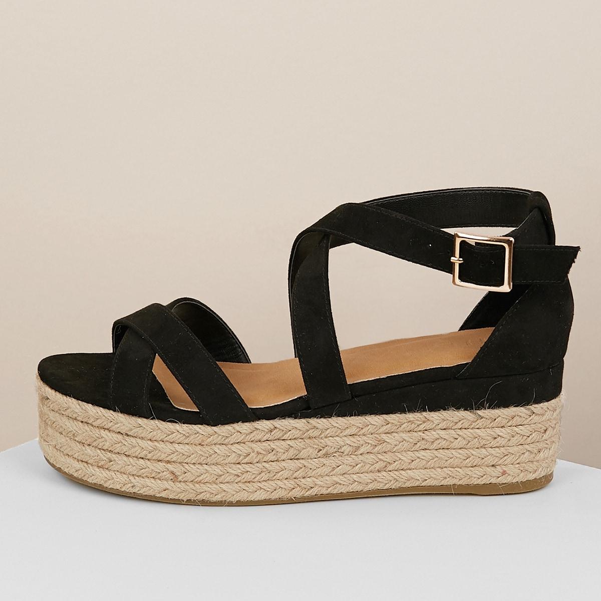Джутовые сандалии с ремешком на лодыжке