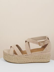 Wrap Buckle Strap Jute Wrapped Flatform Sandals