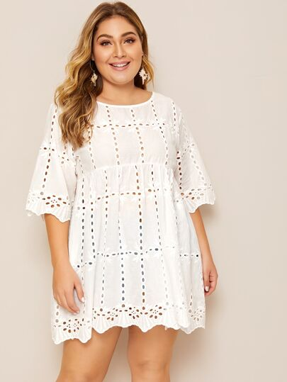 Blouse babydoll unicolore avec broderie anglaise