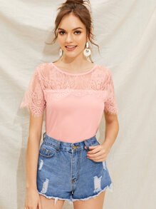 Eyelash Lace Yoke Solid Blouse