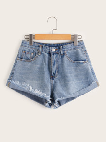 Plus Raw Hem Denim Shorts