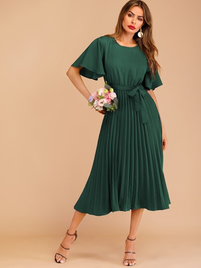 721ceded1b Button Keyhole Pleated Belted Dress