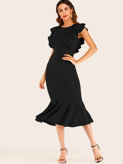 4f2ae599e8 Ruffle Trim Zip Back Fishtail Dress
