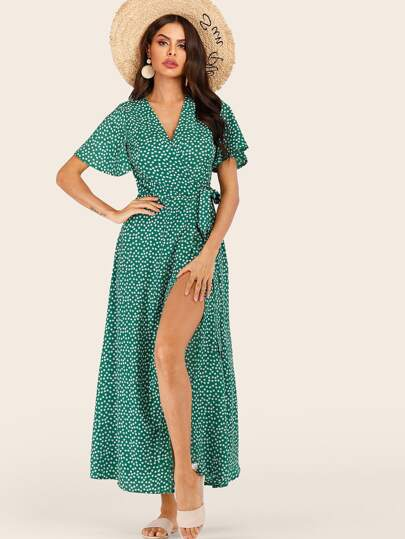 Ditsy Floral Print Knot Side Wrap Dress