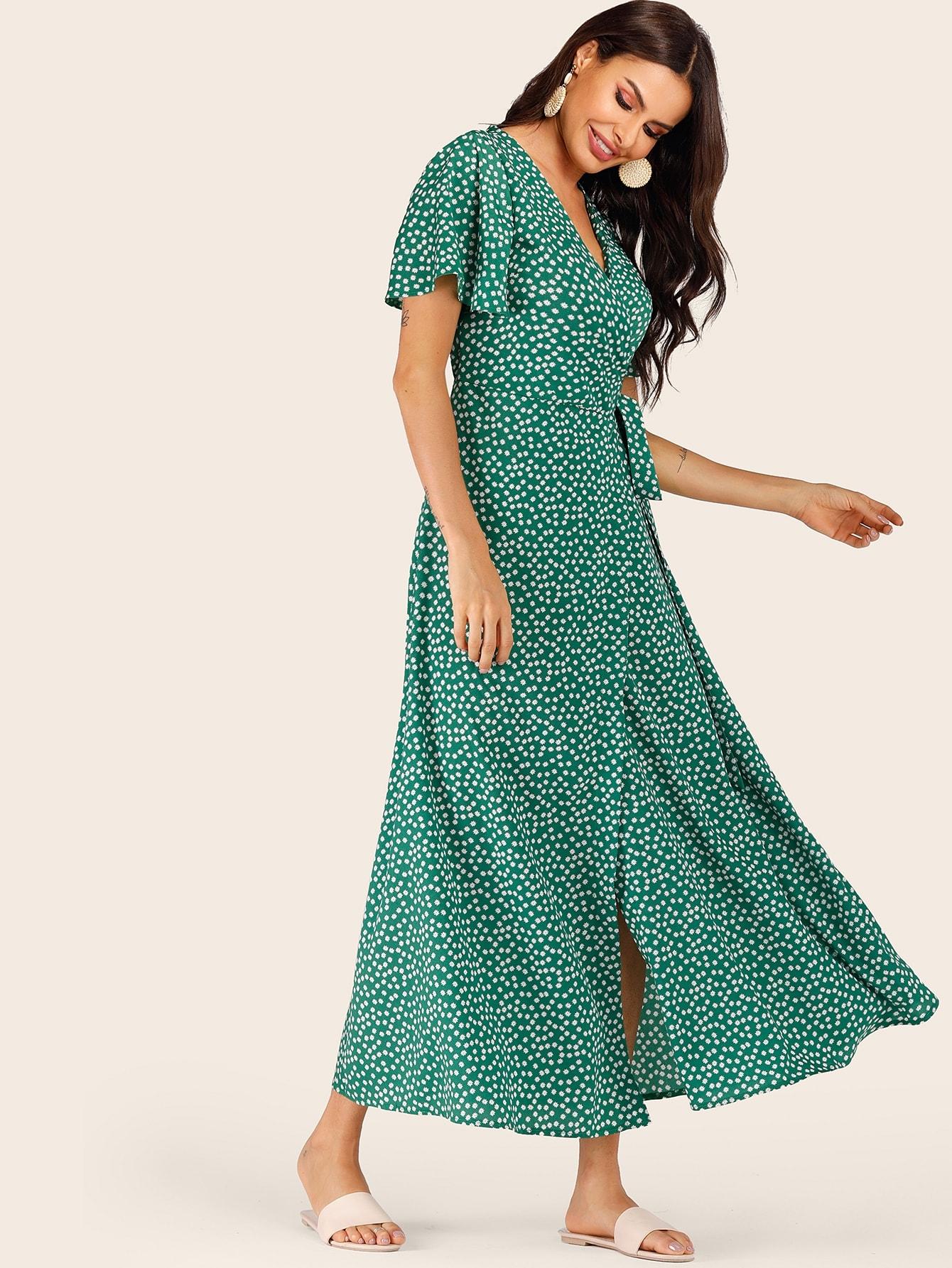 Kleid mit Blumen Muster und Knoten auf den Seiten | SHEIN