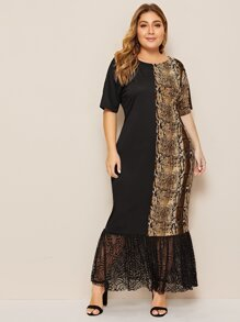 Plus Contrast Snakeskin Print Ruffle Hem Maxi Dress