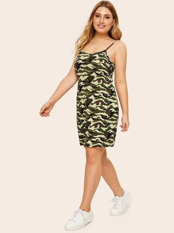 Plus Camo Print Cami Dress   SHEIN