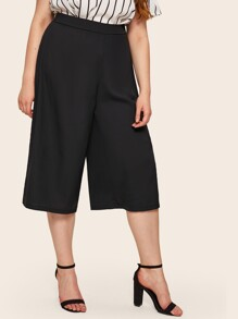 Plus Wide Leg Solid Pants