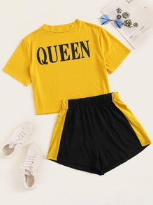 Plus Letter Print Tee With Shorts
