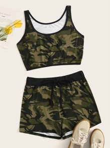 Plus Camo Print Tank Top With Drawstring Waist Shorts
