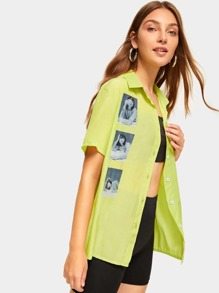 Neon Lime Figure Print Button Front Shirt